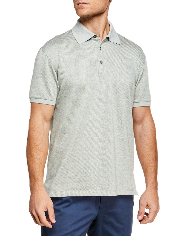 5460eff504 Ermenegildo Zegna Men's Twill Polo Shirt | Neiman Marcus