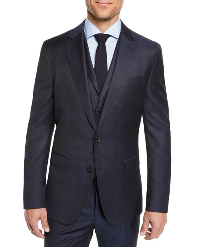 Men's Check Three-Piece Suit