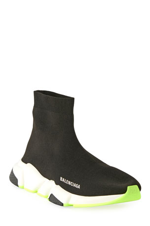 Balenciaga Men's Speed Knit Sneaker with Fluo Sole