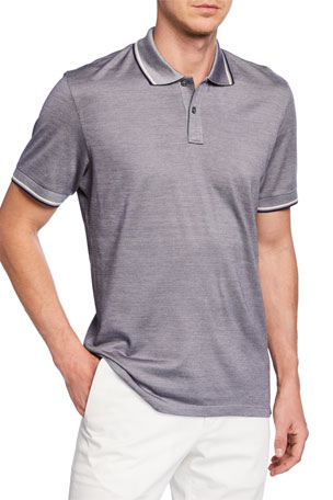Ermenegildo Zegna Men's Jersey Polo Regular-Fit Shirt with Double Striped Collar