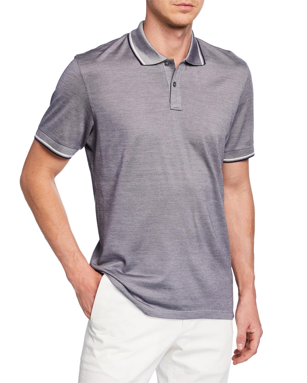 b1bfb051e8 Ermenegildo Zegna Men's Jersey Polo Shirt with Double Striped Collar ...