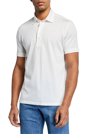 Ermenegildo Zegna Men's Leggerissimo Regular-Fit Cotton Polo Shirt, White