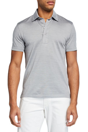 Ermenegildo Zegna Men's Silk-Blend Regular-Fit Polo Shirt
