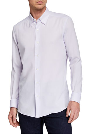Ermenegildo Zegna Men's Solid Regular-Fit Sport Shirt, Purple