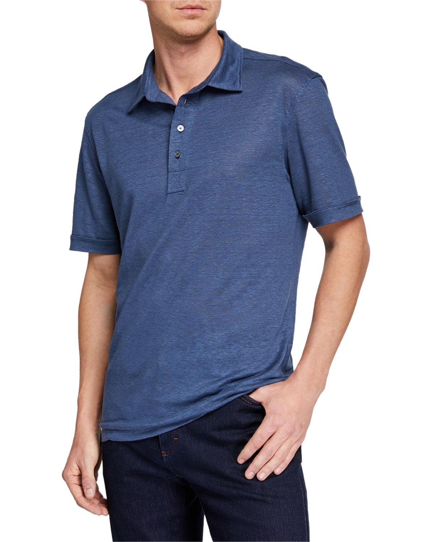 Ermenegildo Zegna Mens Linen Polo Shirt Neiman Marcus