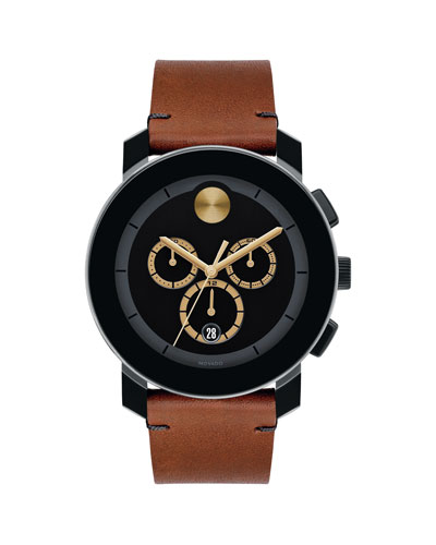 Men's Bold TR-90 Chronograph Watch With Leather Strap