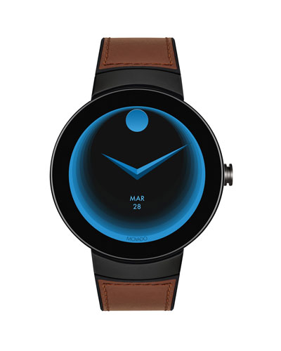 Men's Bold Connect Steel Smartwatch with Brown Leather Strap