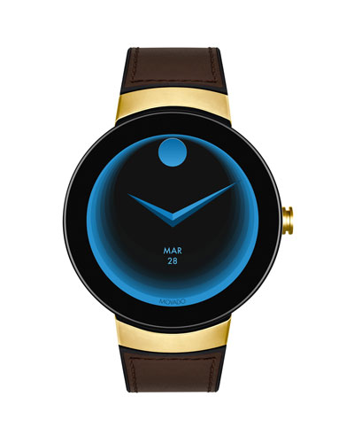 Men's Bold Connect Smartwatch with Brown Leather Strap
