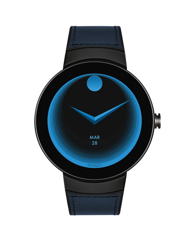 Men's Connect Leather-Inset Smartwatch