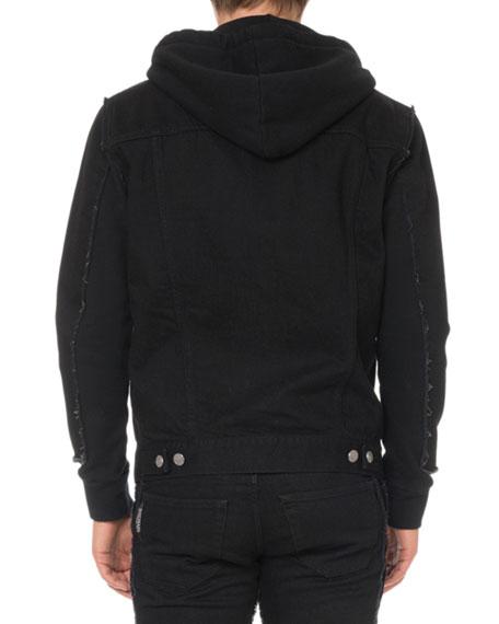 Men's Hooded Denim and Jersey Jacket