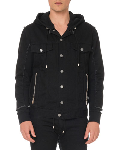 Men's Hooded Denim and Jersey Jacket