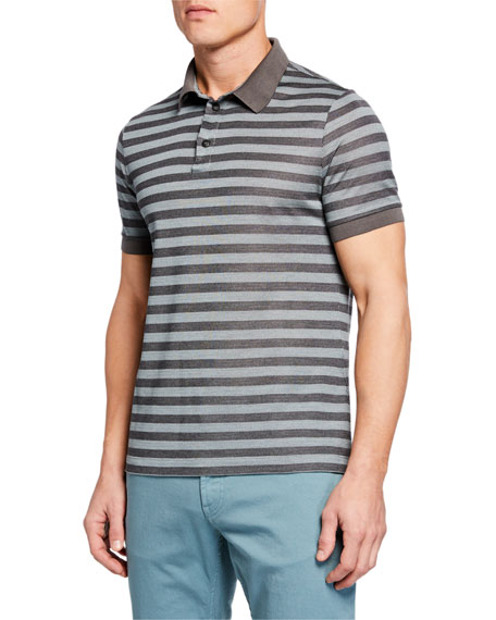 Giorgio Armani Men's Macquard Pattern Polo Shirt