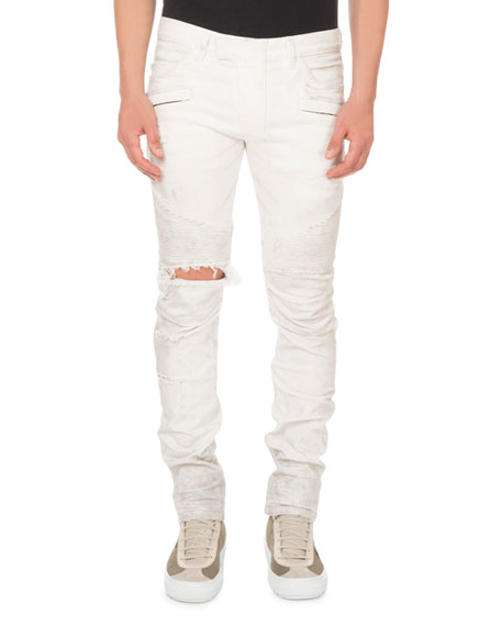 Men's Biker Destroy Tapered Pants