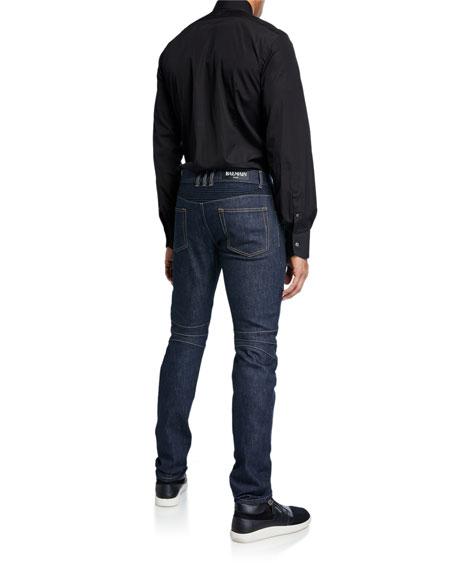 Men's Tapered Bleach Biker Denim Jeans