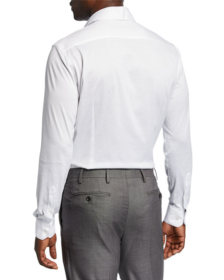 Giorgio Armani Men S Solid Jersey Sport Shirt In Off White