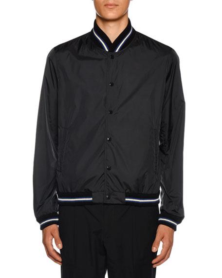 Moncler Men's Dubost Bomber Jacket with Varsity Stripes