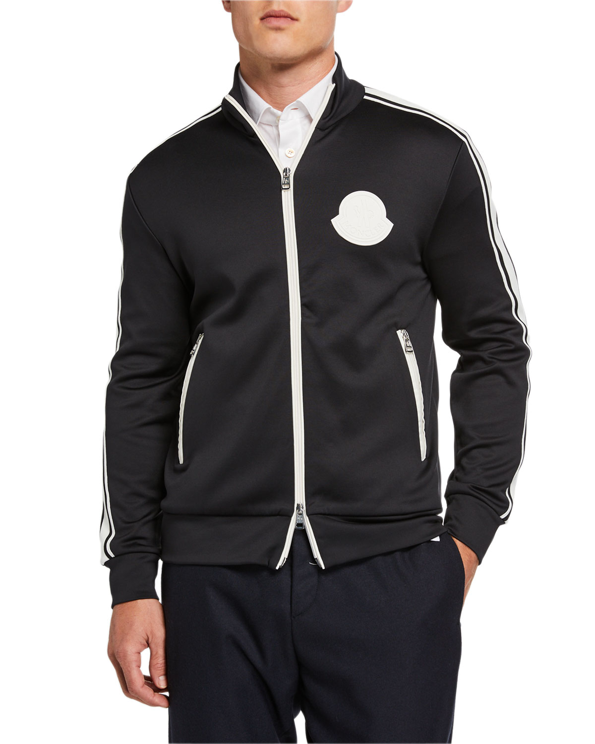 Men's Contrast Trim Zip Front Jacket by Moncler