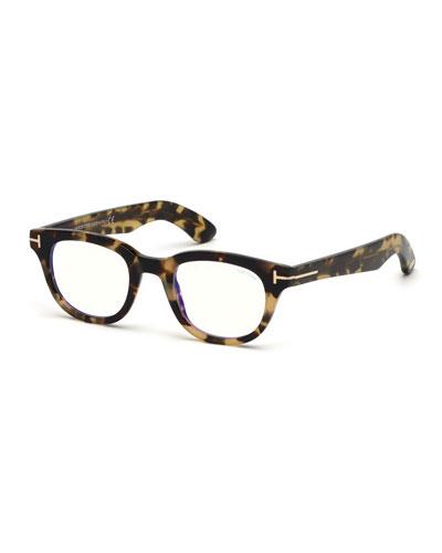 Men's Rectangular Plastic Blue-Block Glasses