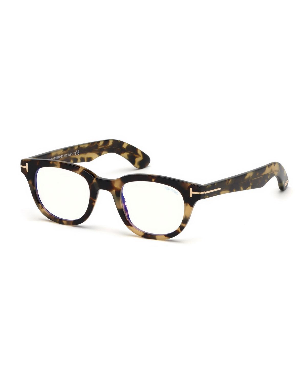 4bf833152a TOM FORD Men s Rectangular Plastic Blue-Block Glasses