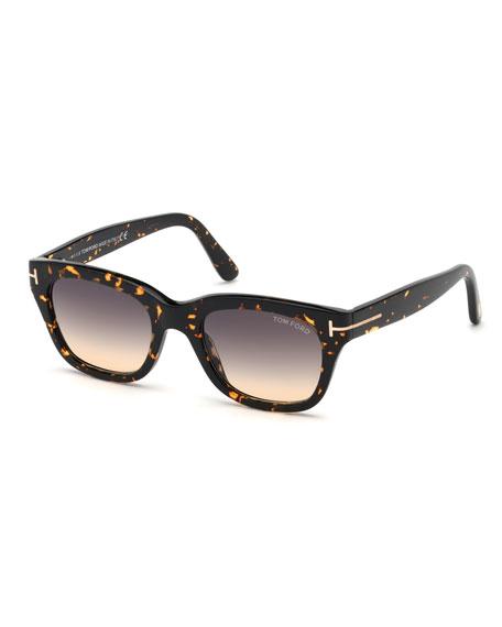 Tom Ford Sunglasses MEN'S SNOWDON SQUARE PLASTIC GRADIENT SUNGLASSES