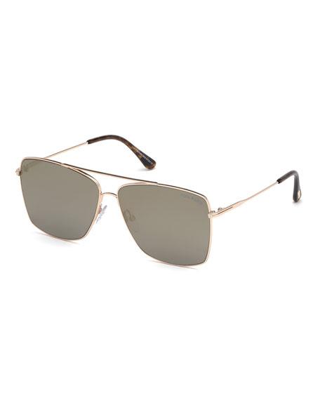 Tom Ford Sunglasses MEN'S MAGNUS ROSE GOLDEN METAL SUNGLASSES