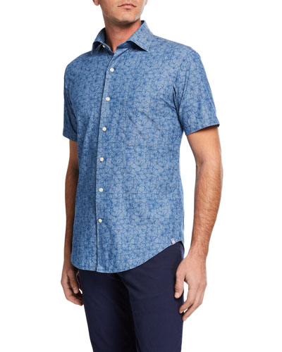 Men's Hawaiian Hibiscus Short-Sleeve Sport Shirt