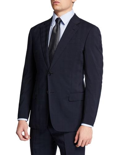 Men's Super 130s Tonal Plaid Two-Piece Suit