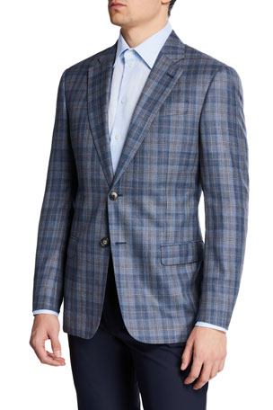 Emporio Armani Men's Earth-Tone Plaid Sport Coat