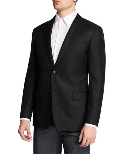 Men's Windowpane Silk/Wool Sport Coat