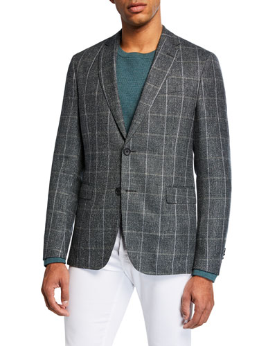Men's Windowpane Slim-Fit Two-Button Jacket