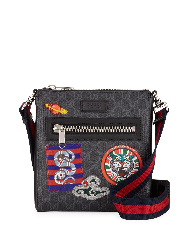 1f60a3d9f16 Gucci Men s GG Supreme Patches Messenger Bag