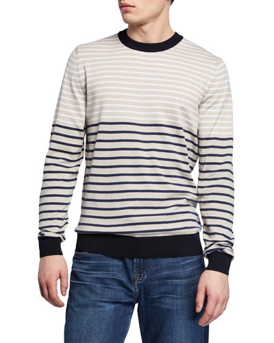 Men's Striped Crewneck Cotton Sweater