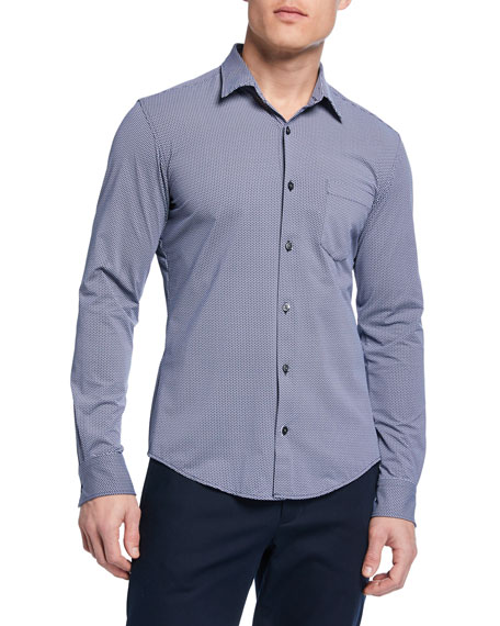 28ce339b Boss Ronni Slim Fit Micro Print Performance Sport Shirt In Dark Blue ...