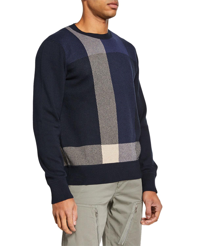 de87c018f5ea Rag   Bone Men s Marshall Cotton Cashmere Plaid Crewneck Sweater ...