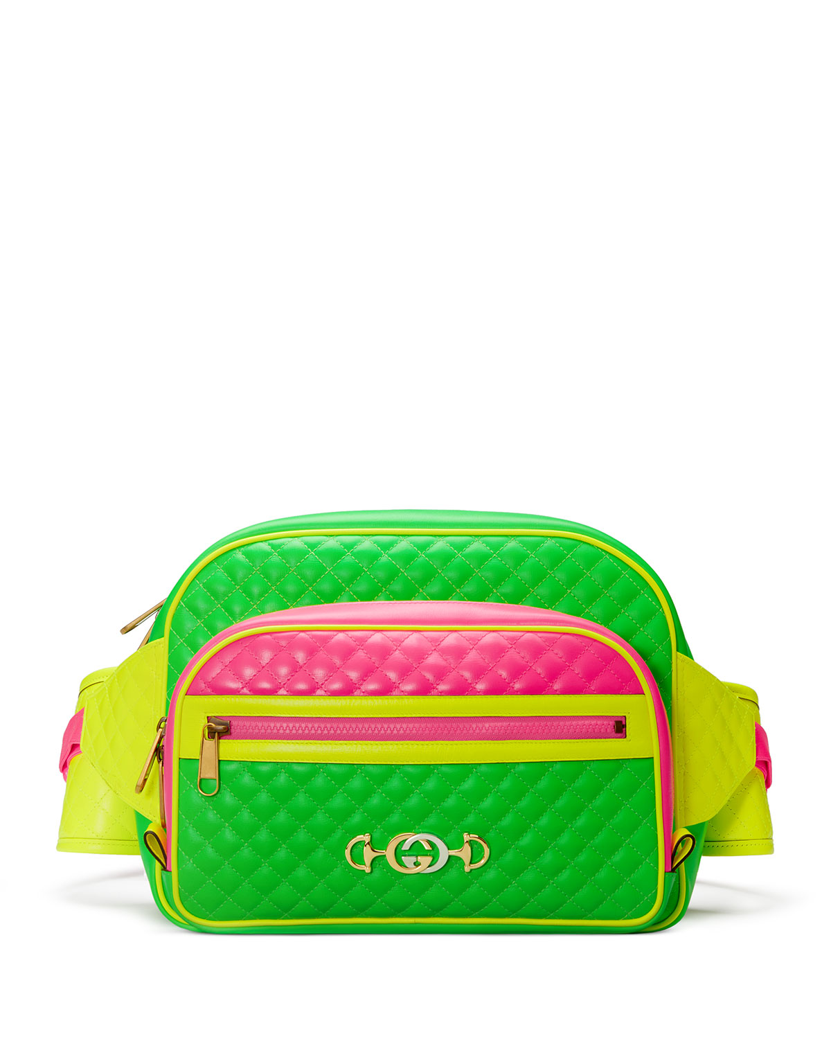 9d45bb1897d3ee Gucci Men's Quilted Neon Leather Belt Bag/Fanny Pack | Neiman Marcus