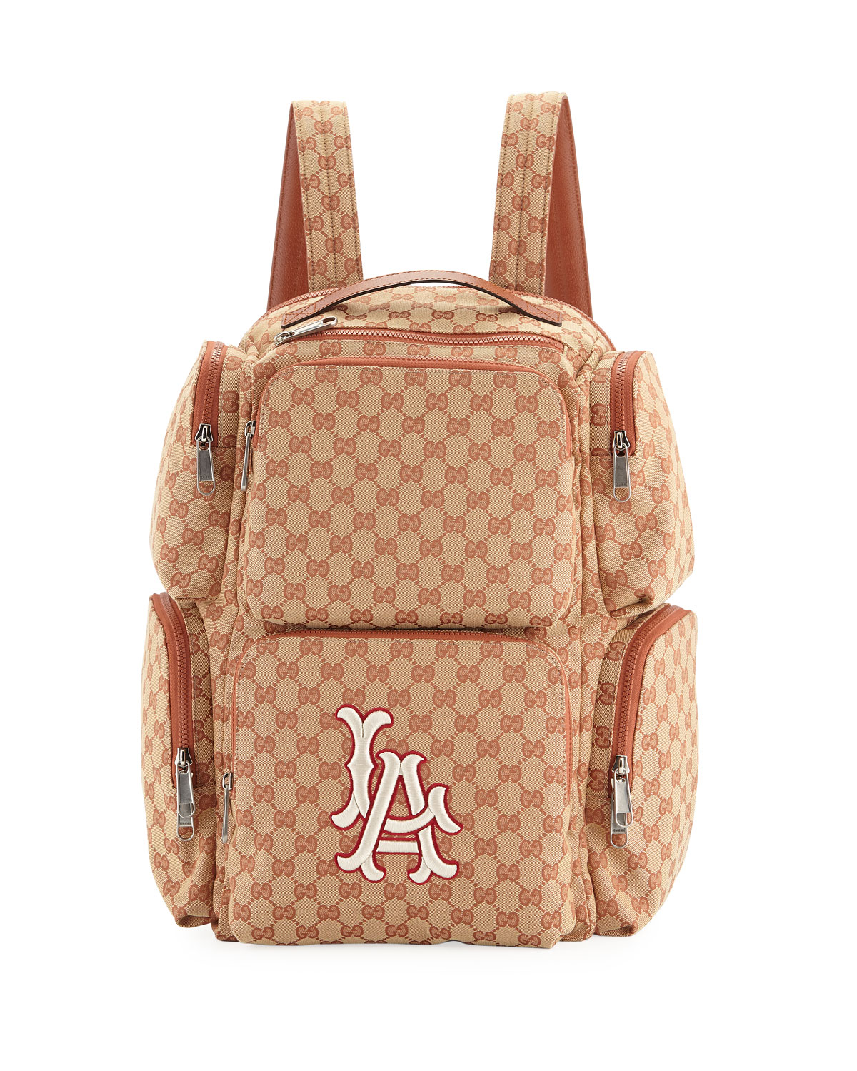8e3ec083d92c Gucci Men s Large Original GG Backpack with LA Angels MLB Applique ...