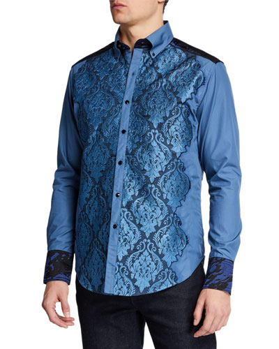 Men's The Gladiator Damask-Motif Sport Shirt