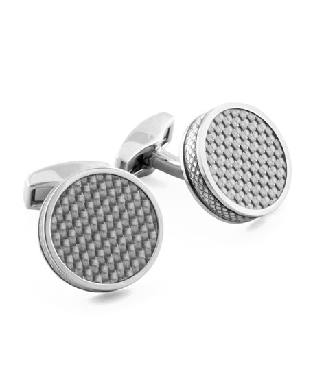 Tateossian Rhodium-Plated Carbon Fiber Round Cuff Links