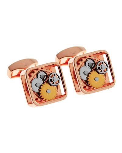 Rose-Plated Square Rotating Gear Cuff Links