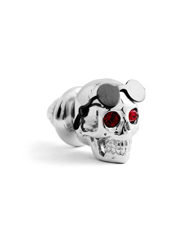 Men's Aviator Skull Pin w/ Swarovski Crystal Eyes