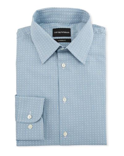 Men's Modern-Fit Tonal Geometric Square Dress Shirt