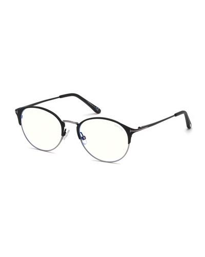 Men's Round Metal/Plastic Half-Rim Optical Glasses