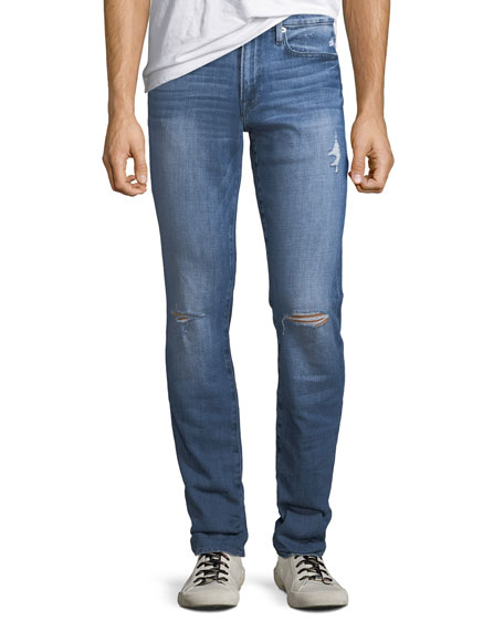 FRAME Men's L'Homme Slim Ripped-Knee Jeans