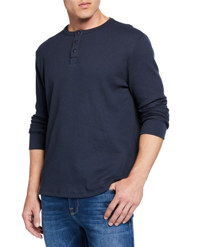 Men's Henley Waffle-Knit Shirt
