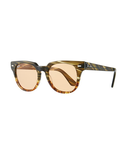Men's Square Acetate Sunglasses with Mirror Lenses