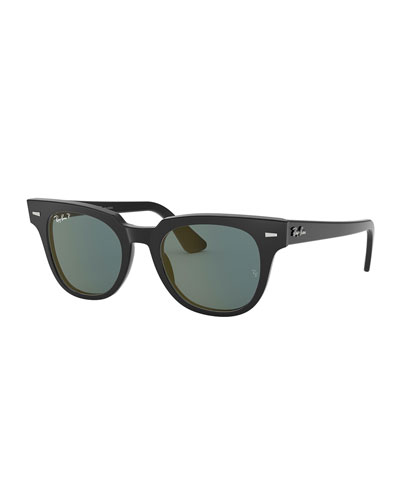 Men's Square Acetate Sunglasses with Polarized Mirror Lenses