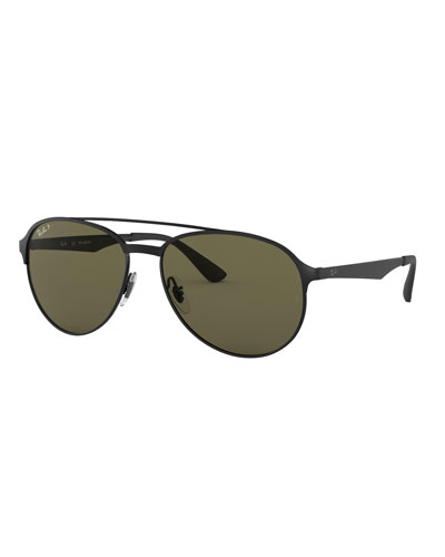 Men's Round Polarized Metal Aviator Sunglasses