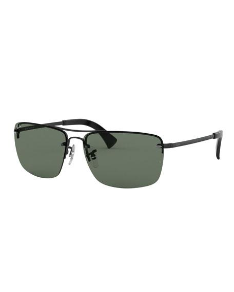 Ray-Ban Men's Half-Rim Metal Sunglasses with Solid Lenses