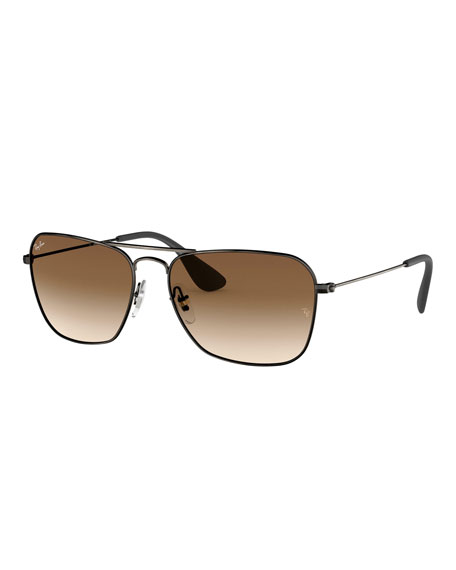 Ray-Ban Men's Rectangular Metal Sunglasses with Gradient Lenses