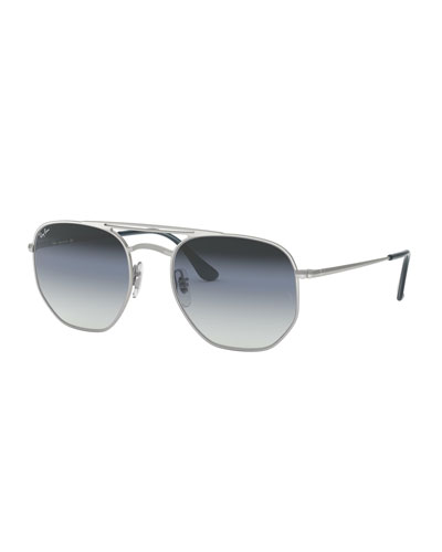 Men's Hexagonal Metal Sunglasses with Gradient Lenses